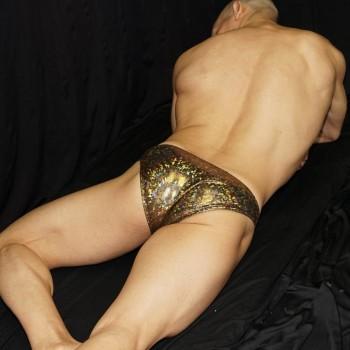 slip para textura bronce metálico. vista de espalda.