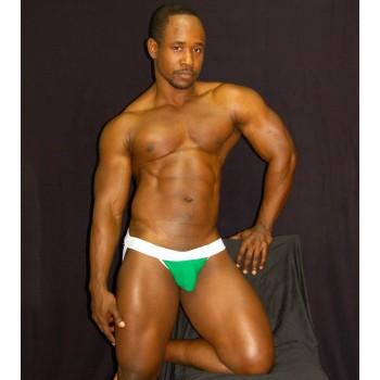 Protector o suspensorio para hombres color verde  blanco.