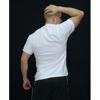 polera hombre tubular, manga corta, cuello polo. Sin costuras, color blanco
