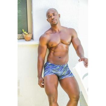 Boxer baño hombre estampado azul