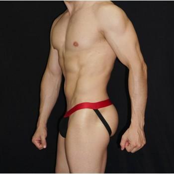 protector deportivo hombre elastico rojo frente negro