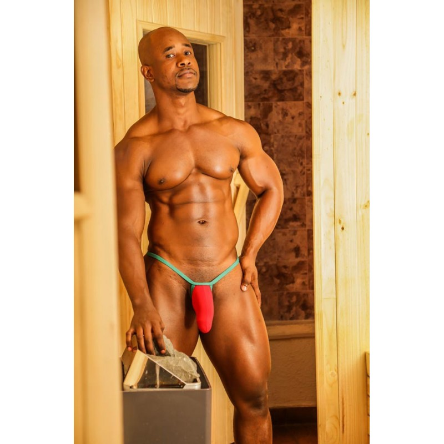 Sutien paquete Bulge hombre rojo verde