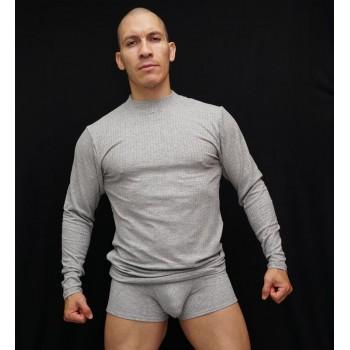 camiseta cuello beatle manga larga hombre elasticada canuton gris