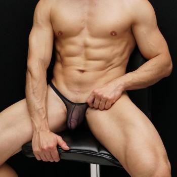 sutien nylon negro tipo paquete o bulge