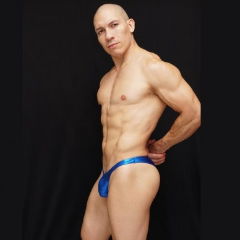 zunga fisicoculturismo hombre brillo azul