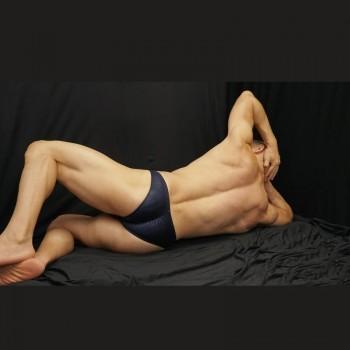 zunga fisicoculturismo azul marino brilloso, elastico vetical trasero