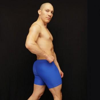 calza corta para futbol de color azulino.