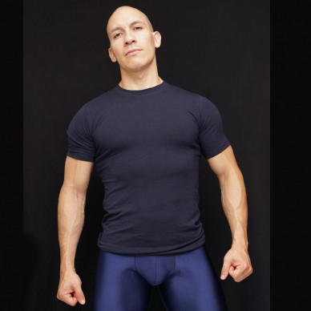 polera hombre spandex azul marino algodon con lycra