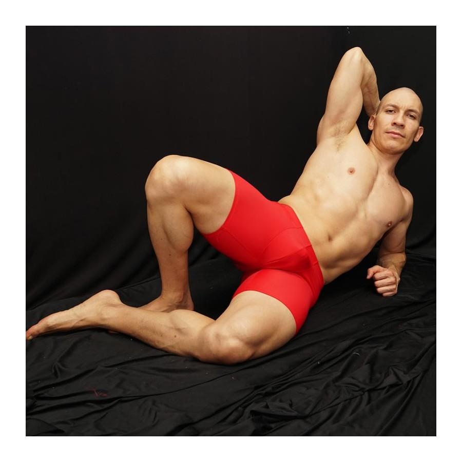 calza corta futbol para hombre color rojo vista de frente
