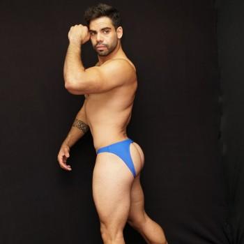 slip hombre trasero descubierto azul vista de perfil