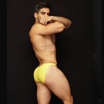 slip ropa interior hombre microfibra amarillo vista de perfil.